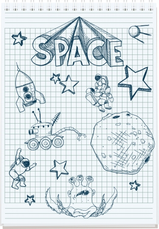 sloppy sketch pen in the notebook space themed Vector