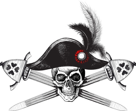 Pirate symbol of a skull in the captains hat and two crossed swords Ilustrace