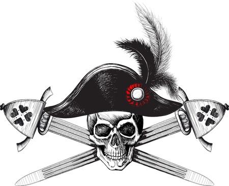 skull and crossed bones: S�mbolo pirata de la calavera con sombrero de capit�n y dos espadas cruzadas Vectores