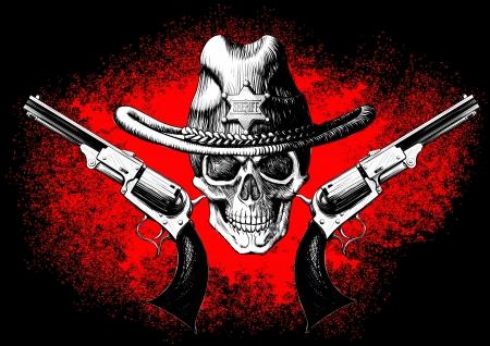 skull: cr�ne coiff� d'un chapeau de cow-boy avec deux canons sur le fond noir et rouge