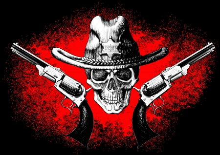 skull wearing a cowboy hat with two guns on the black and red background Vector