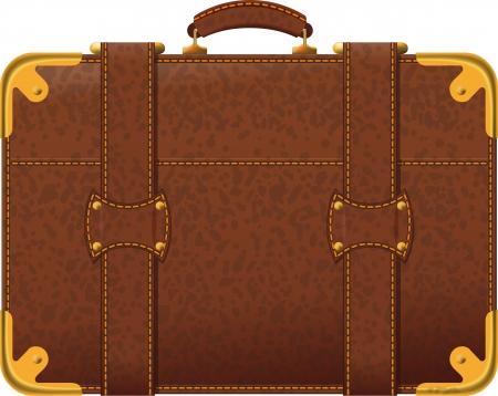 Imagen realista antigua maleta marrón vista lateral
