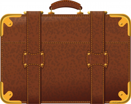 abroad: Realistic image old fashioned brown suitcase side view Illustration