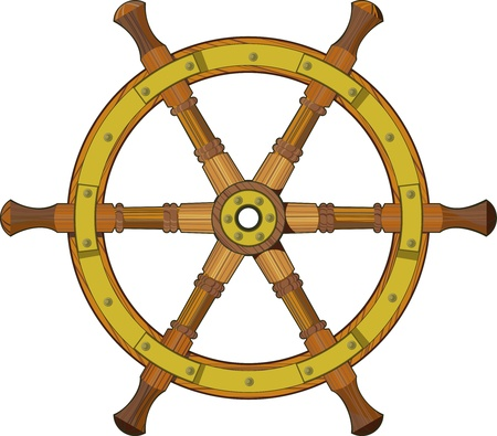 starboard: old wooden ship steering wheel isolated on white background
