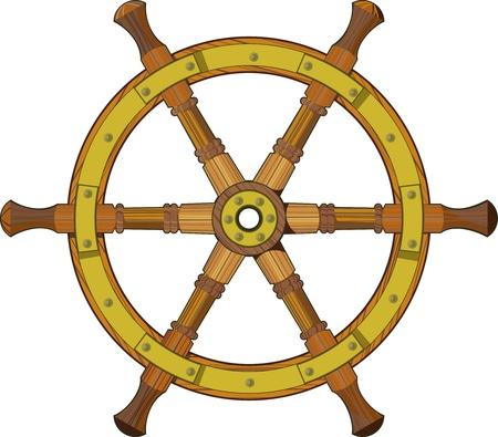helm boat: rueda de madera vieja dirección nave aislada en el fondo blanco