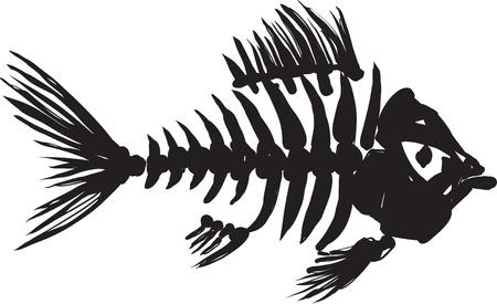 monocrom�tico: primitiva imagem aproximada do esqueleto de peixe em preto sobre um fundo branco Ilustra��o