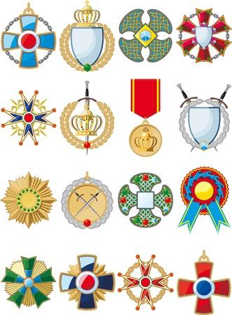yıldız: çeşitli kavramsal madalyalar, rozetler ve ödül büyük bir set