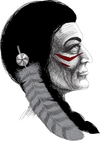warrior tribal tattoo: Portrait of an Indian male warrior with a feather in her hair and combat coloring Illustration