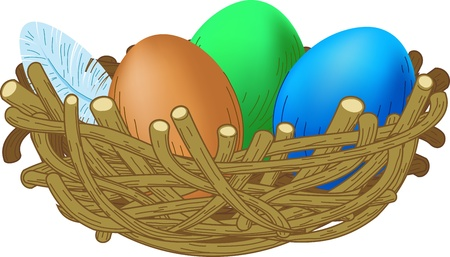 eggs in basket: three colored eggs lie in a nest Easter illustration
