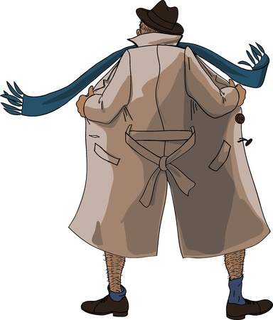 Flasher unbuttoned coat view from the back Vector