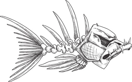 illustration of black fishbone: sketch of evil skeleton fish with sharp crooked teeth