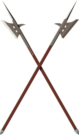 two crossed battle halberds isolated on white background Stock Vector - 18882686