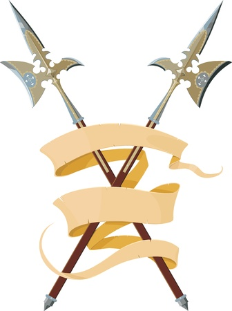 halberd: two crossed halberds entwined elegant banner forming three lines Illustration