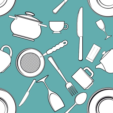 fork in path: seamless background with antique kitchen utensils and tableware