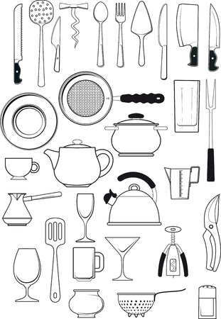stainless steel kitchen: large set of thirty items on kitchen utensils