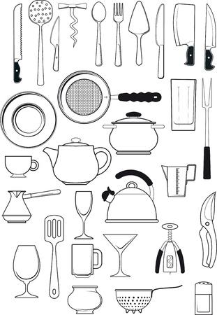 grote verzameling van dertig items op keukenbenodigdheden