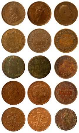 some old and newer copper coins of India from Britain and from Austria photo