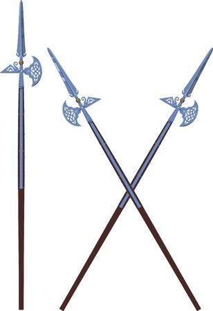 chevalerie: deux crois�s et un hallebardes d�cor�es horizontal isol� sur blanc