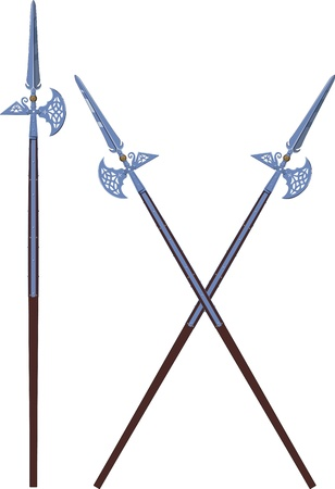 edad media: dos cruzaron y uno alabardas decoradas horizontales aislados en blanco