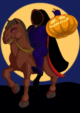 Jack o lantern Halloween symbol on the horse on the background of the moon Vector