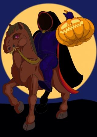 uomo a cavallo: Jack o lantern simbolo di Halloween sul cavallo sullo sfondo della luna