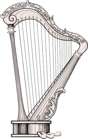 decorated harp isolated on white background. The area itself harp is a little different from the color of the background for easy isolation Vectores