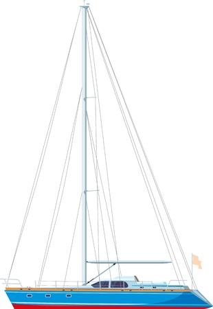 sailing yacht docked with downcast sail isolated on white background Vector