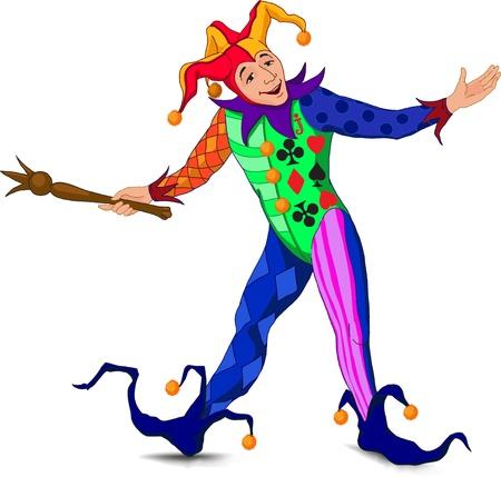 arlecchino: Jolly Joker, che si trova in un accogliente posa in un abito luminoso
