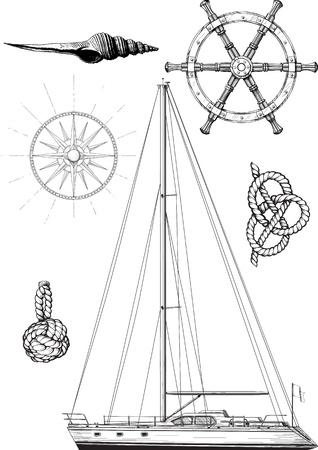 요트로 구성된 해양 및 요트 기호 집합, 바퀴, 바람 패턴과 매듭 흰색에 고립