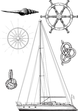 nautical equipment: Set of marine and yachting symbols consisting of the yacht, the wheel, wind patterns and knots  Isolated on white