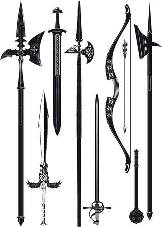 оружие: набор упрощенных черно-белый силуэт средневекового оружия