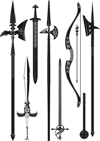 set of simplified black-and-white silhouette of medieval weapons