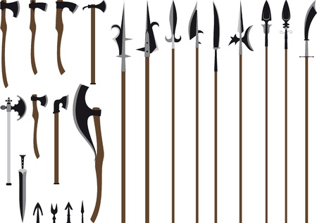 traditional weapon: A large set of medieval weaponry  Spears, halberds, axes, sword and arrows  Isolated on white background