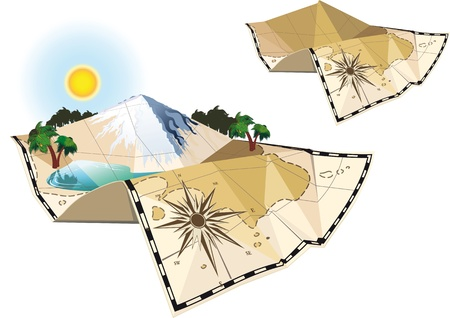 paper folding: concept of an old map of the island c mountain and lake scenery and a simplified version of the map Illustration