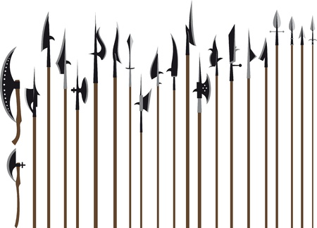 A large set of medieval weaponry. Spears, halberds and battle axes. Isolated on white background Vector