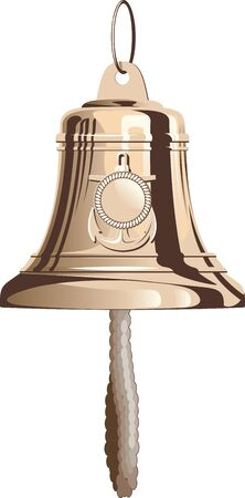 Classical marine brass bell with rope. Isolated on white background Vector