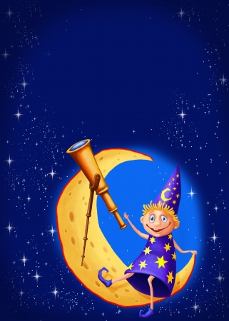 stargazing: Postcard on which the moon as a piece of cheese on the stargazer with a telescope. At the top place for text