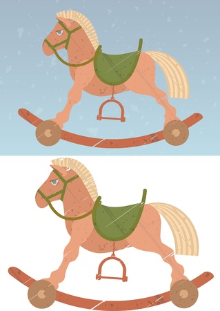 Toy rocking horse on the abstract retro background. One of the horses insulated on white for easy isolation when working with JPG file Vector