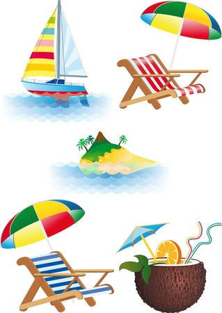 Summer recreations and travel objects vector set Vector