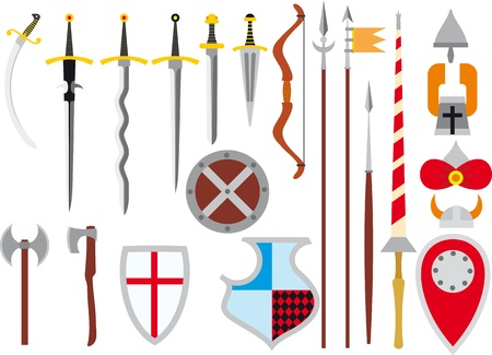large primitive set of medieval weapons and defenses Vector