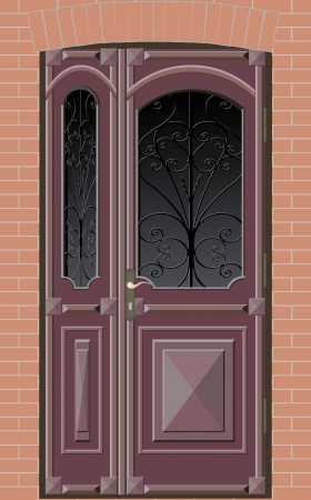 open doors: old closed double door with grille on the brick wall background