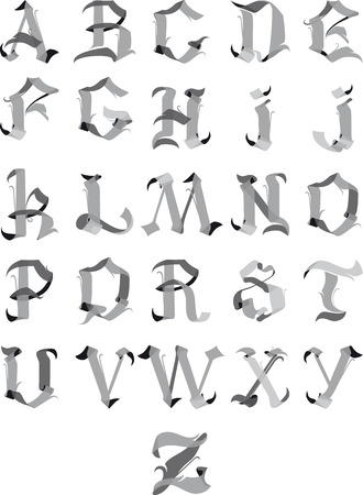 gothic style: beautiful gothic alphabet letters like ribbons of isolated on a white background