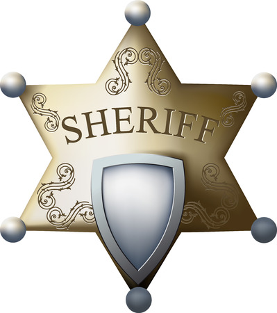 sheriffs: Sheriffs badge with a blank space for the title of and numbers isolated on white background Illustration