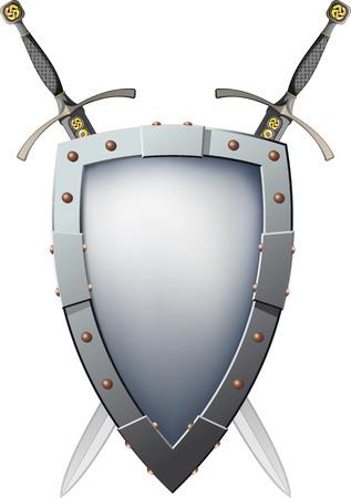 Due spade incrociate che sono dietro lo scudo. Lo scudo ha uno spazio in bianco per scrivere o disegnare Archivio Fotografico - 22644031