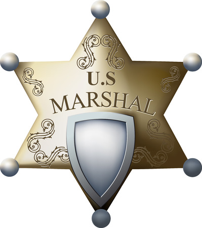 Marshal's badge with a blank space for the title of and numbers isolated on white background Stock Vector - 23111674
