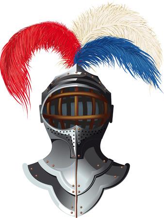 Casco d'acciaio del cavaliere con piumaggio colorato e una visiera sollevata
