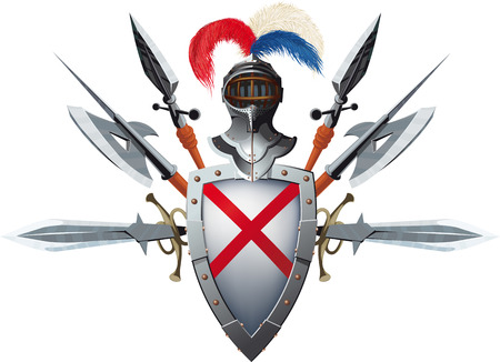 Knight's mascot with shield, helmet and bristling with weapons Stock Illustratie
