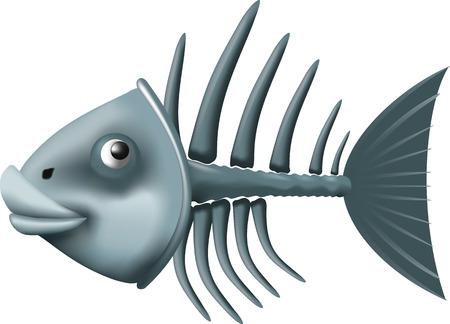 skeleton of fish: Conceptual fish skeleton isolated on white background Illustration