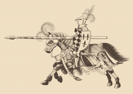 cartoon knight: Horseback Knight of the tournament with a spear at the ready galloping towards the opponent. engraving
