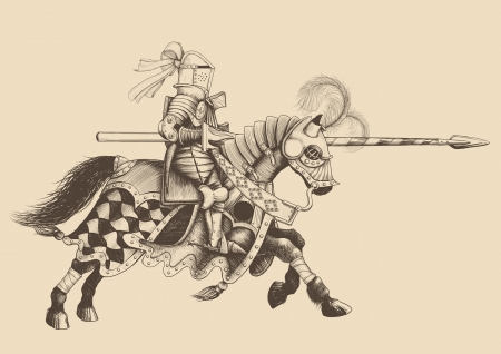 the opponent: Horseback Knight of the tournament with a spear at the ready galloping towards the opponent. engraving
